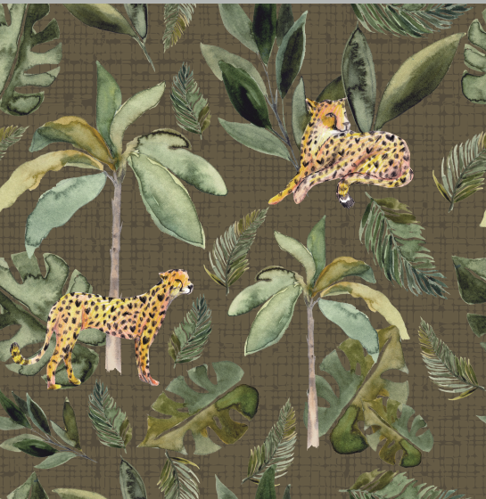 Cheetah Jungle Party Olive exclusive fabric