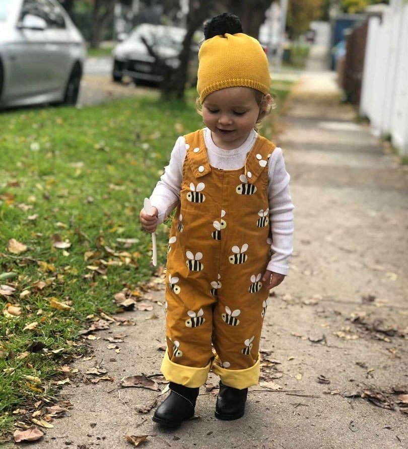 Miss B in Bee Overalls