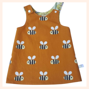 Bees on mustard custom order dress