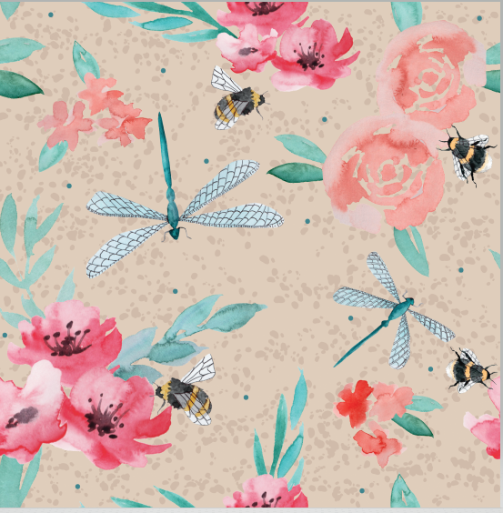 Dragonfly floral mid weight cotton fabric