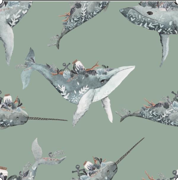 Whales Ocean Adventures peppermint cotton fabric