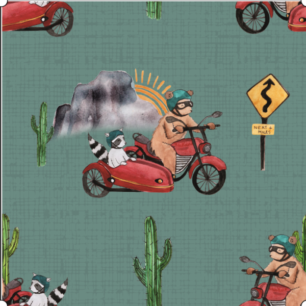 Route66 bear teal mid weight cotton fabric