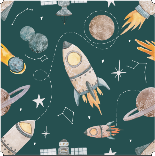 Rockets To the Moon cotton fabric